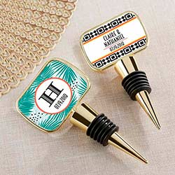 Personalized Gold Bottle Stopper with Epoxy Dome - Tropical Chic