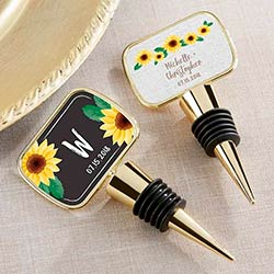Personalized Gold Bottle Stopper - Sunflower