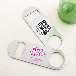 Personalized Silver Oblong Bottle Opener - Bachelor & Bachelorette