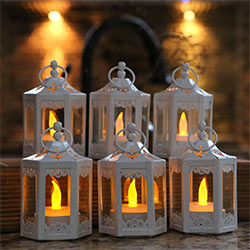 White Hexagon Mini Metal Lantern (Set of 6)