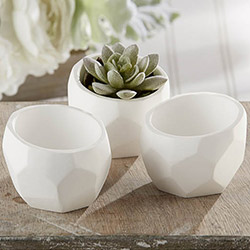 """Modern Garden"" Geometric White Planter (Set of 4)"