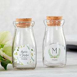 Personalized Vintage Milk Bottle Favor Jar - Botanical Garden (Set of 12)