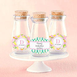 Personalized Vintage Milk Bottle Favor Jar - Cheery & Chic (Set of 12)