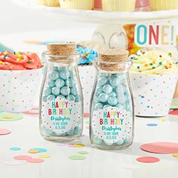 Personalized Vintage Milk Bottle Favor Jar - Happy Birthday (Set of 12)