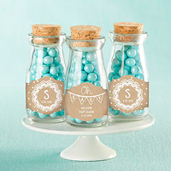 Personalized Vintage Milk Bottle Favor Jar - Rustic Charm Baby Shower (Set of 12)