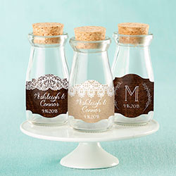 Personalized Vintage Milk Bottle Favor Jar - Rustic Charm Wedding (Set of 12)