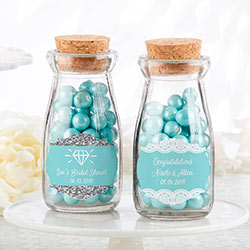 Personalized Vintage Milk Bottle Favor Jar - Something Blue (Set of 12)
