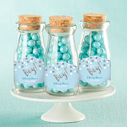 Personalized Vintage Milk Bottle Favor Jar - Its a Boy! (Set of 12)