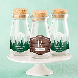 Personalized Vintage Milk Bottle Favor Jar - Winter (Set of 12)