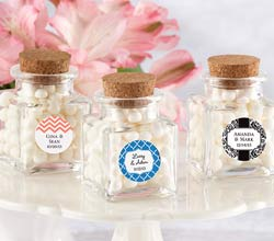"""Petite Treat"" Personalized Square Glass Favor Jar with Cork Stopper (Set of 12)"