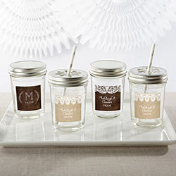 Personalized 8 oz. Glass Mason Jar - Rustic Charm Wedding (Set of 12)