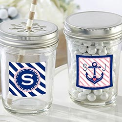 Personalized Glass Mason Jar - Kates Nautical Bridal Shower Collection (Set of 12)