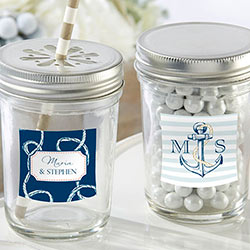 Personalized Mason Jar - Kates Nautical Wedding Collection (Set of 12)
