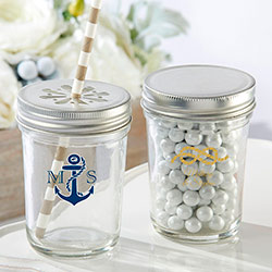 Personalized Printed Mason Jar - Kates Nautical Wedding Collection (Set of 12)