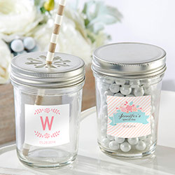 Personalized Glass Mason Jar - Kates Rustic Bridal Shower Collection (Set of 12)