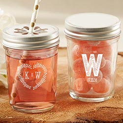 Personalized Printed Mason Jar - Kates Rustic Wedding Collection (Set of 12)