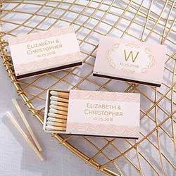 Personalized White Matchboxes - Modern Romance (Set of 50)
