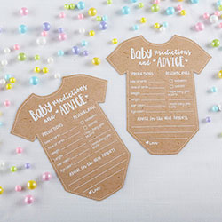 Baby Shower Prediction Advice Card - Onesie Shape (Set of 50)