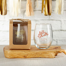 Personalized 9 oz. Stemless Wine Glass - Fall