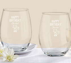 Personalized 9 oz Stemless Wine Glass - Kates Woodland Birthday Collection