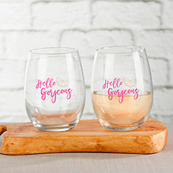 Cheery and Chic 15 oz. Stemless Wine Glass (Set of 4)