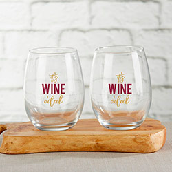 Its Wine OClock 15 oz. Stemless Wine Glass (Set of 4)