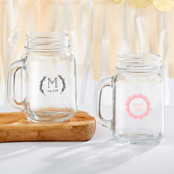Personalized 16 oz. Mason Jar Mug - Rustic Charm Wedding