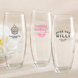 Personalized Stemless Champagne Glass – Birthday
