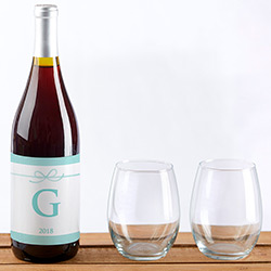 Personalized Wine Bottle Labels - Something Blue