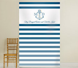 Personalized Photo Backdrop - Kates Nautical Wedding Collection - Royal Blue Stripe