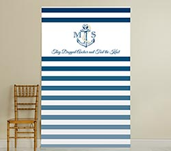 Personalized Photo Booth Backdrop - Kates Nautical Wedding Collection - Royal Blue Stripe