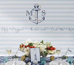 Personalized Photo Booth Backdrop - Kates Nautical Wedding Collection - Light Blue Stripe Anchor