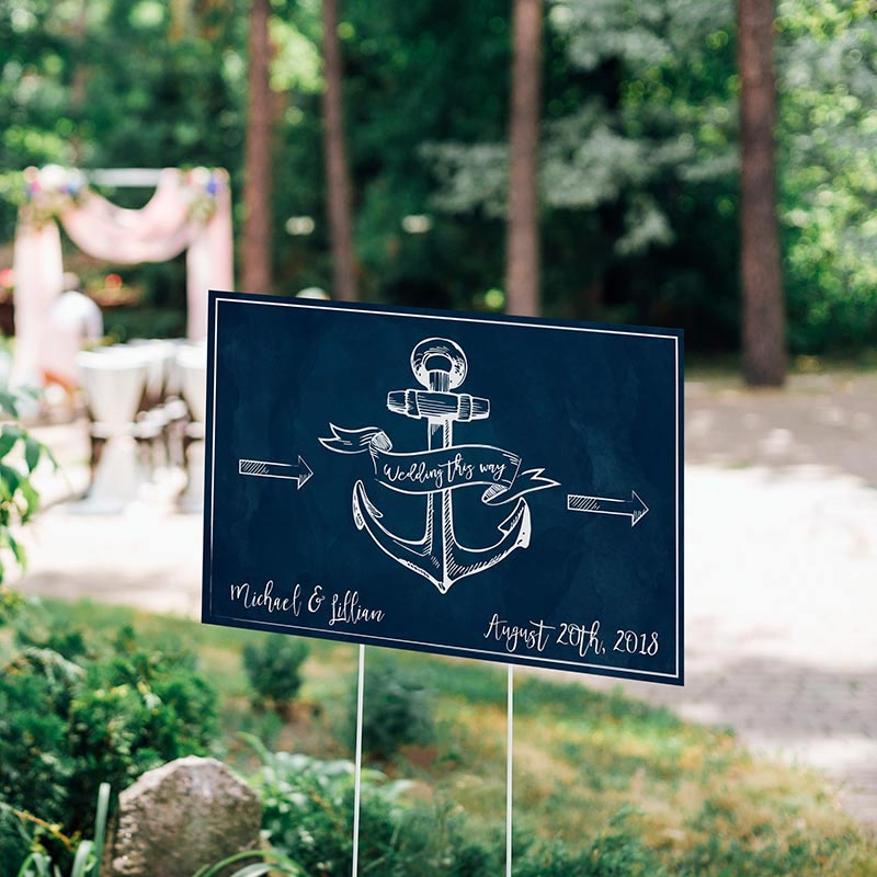 Personalized directional sign 18x12 nautical wedding the view large picture junglespirit Choice Image