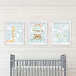 Personalized Noahs Ark Nursery Décor Wall Art (Set of 3 Prints)