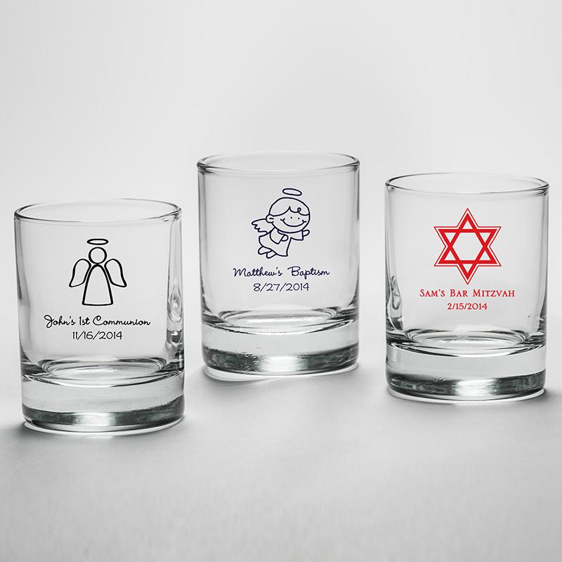 Personalized shot glass votive holder religious designs